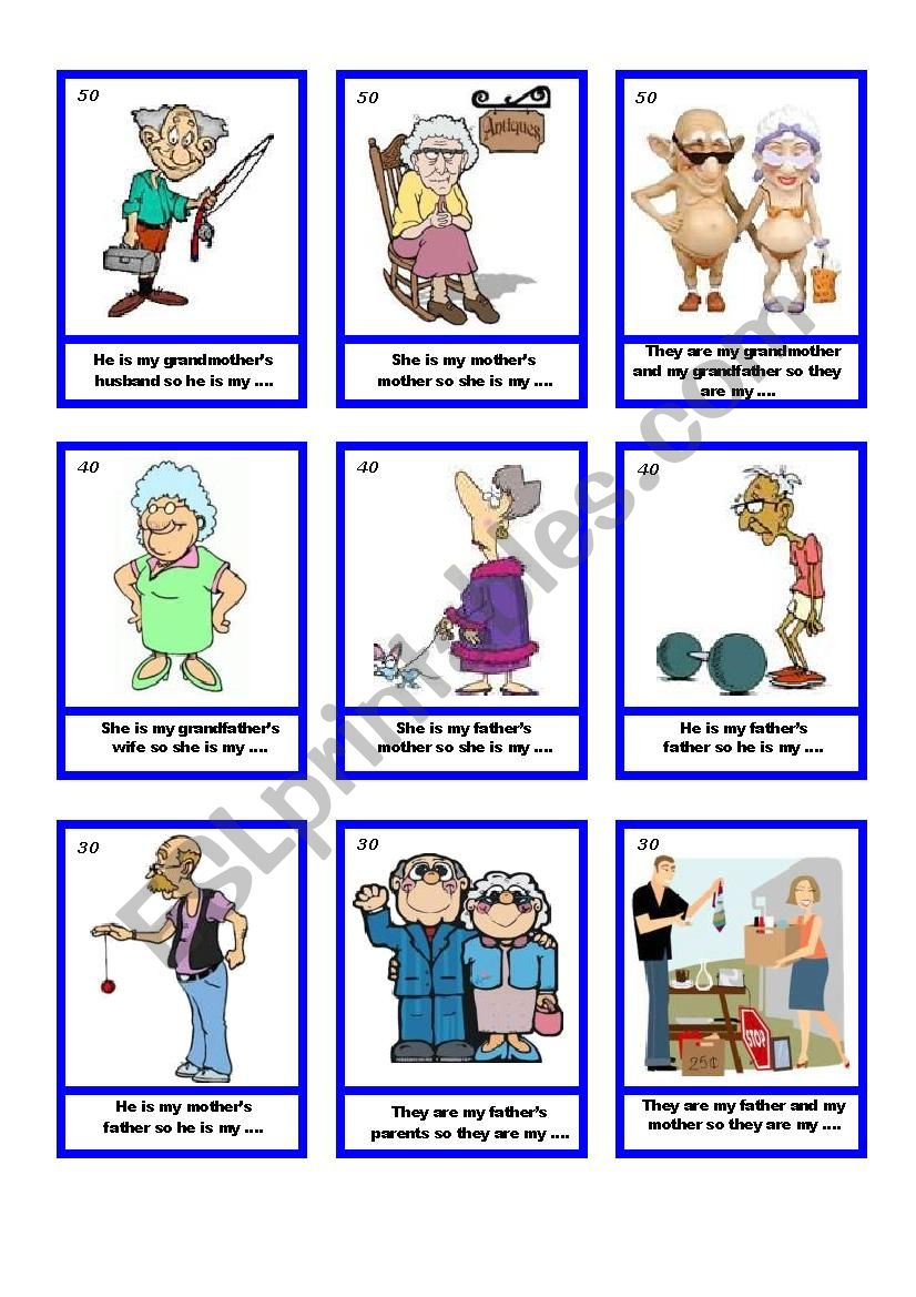 Family card guessing game worksheet