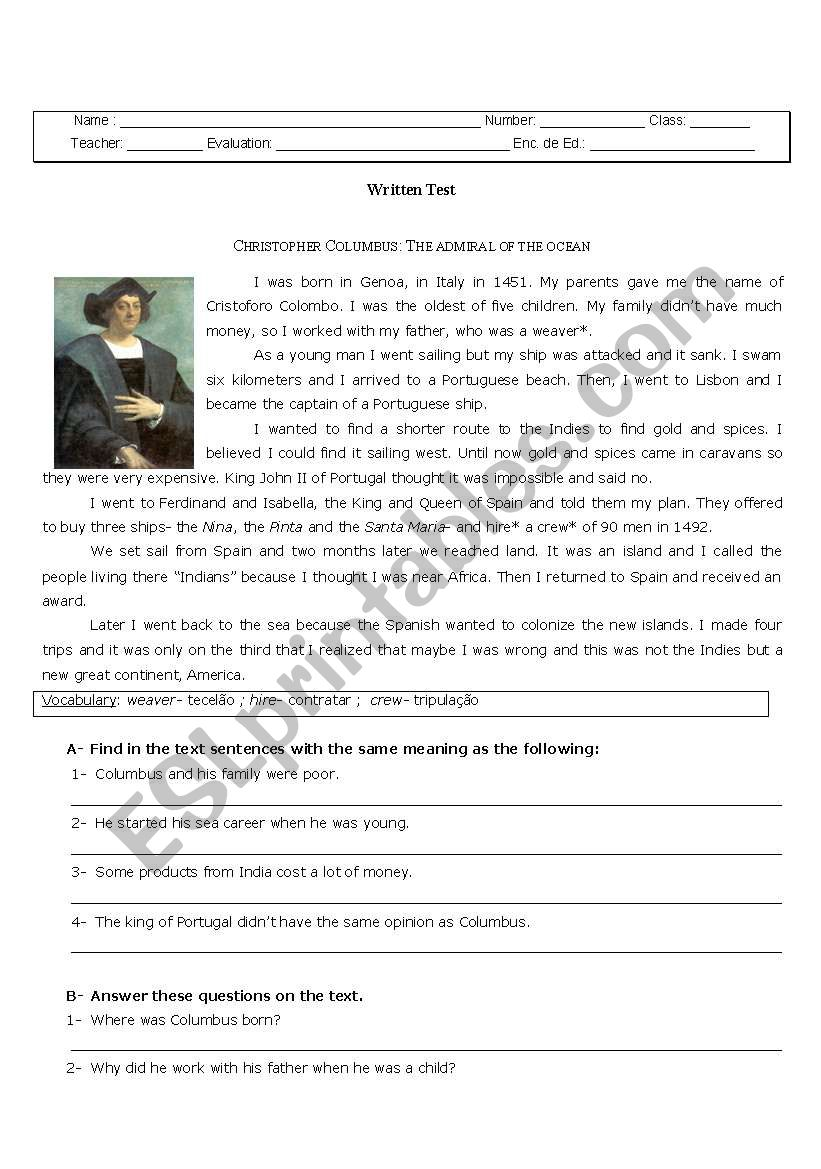 CHRISTOPHER COLUMBUS - ESL worksheet by cgato