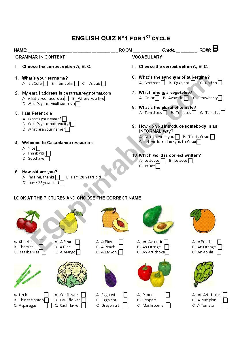 Quiz based on Common questions, synonyms, fruit and