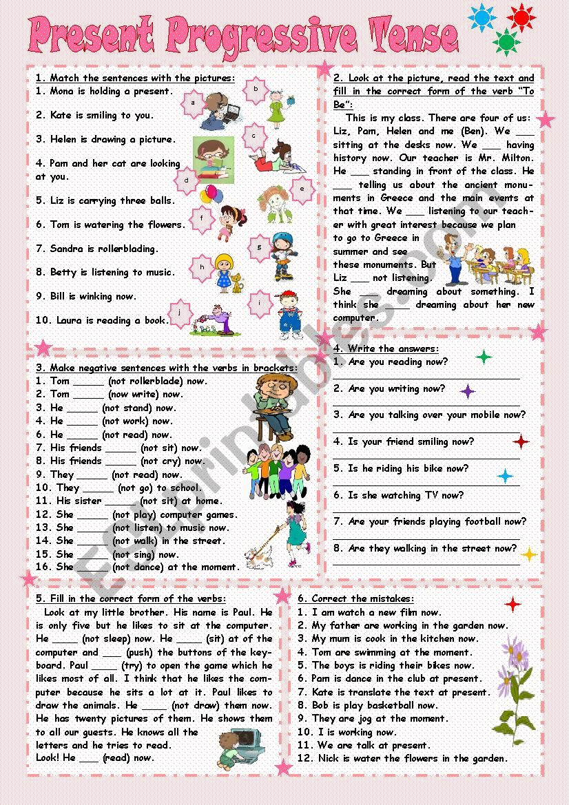 Present Progressive Tense - ESL worksheet by Tmk939