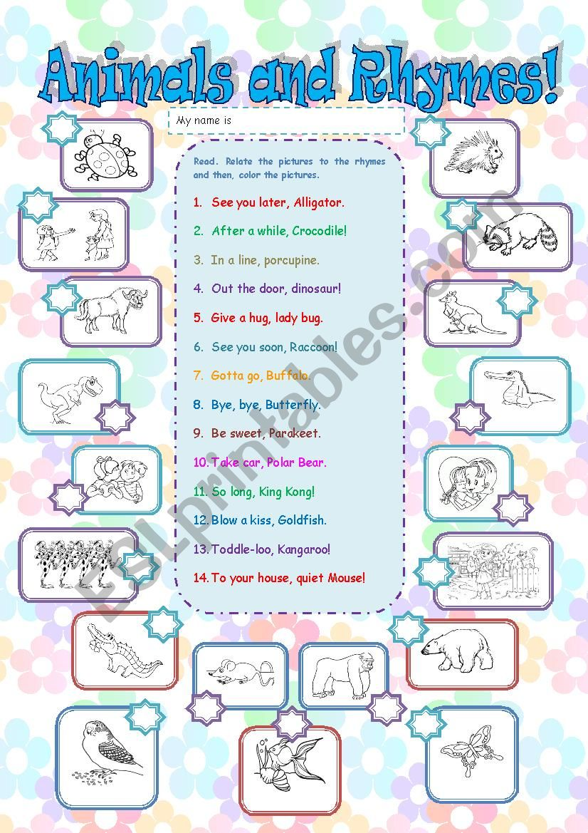ANIMALS AND RHYMES MATCHING  worksheet