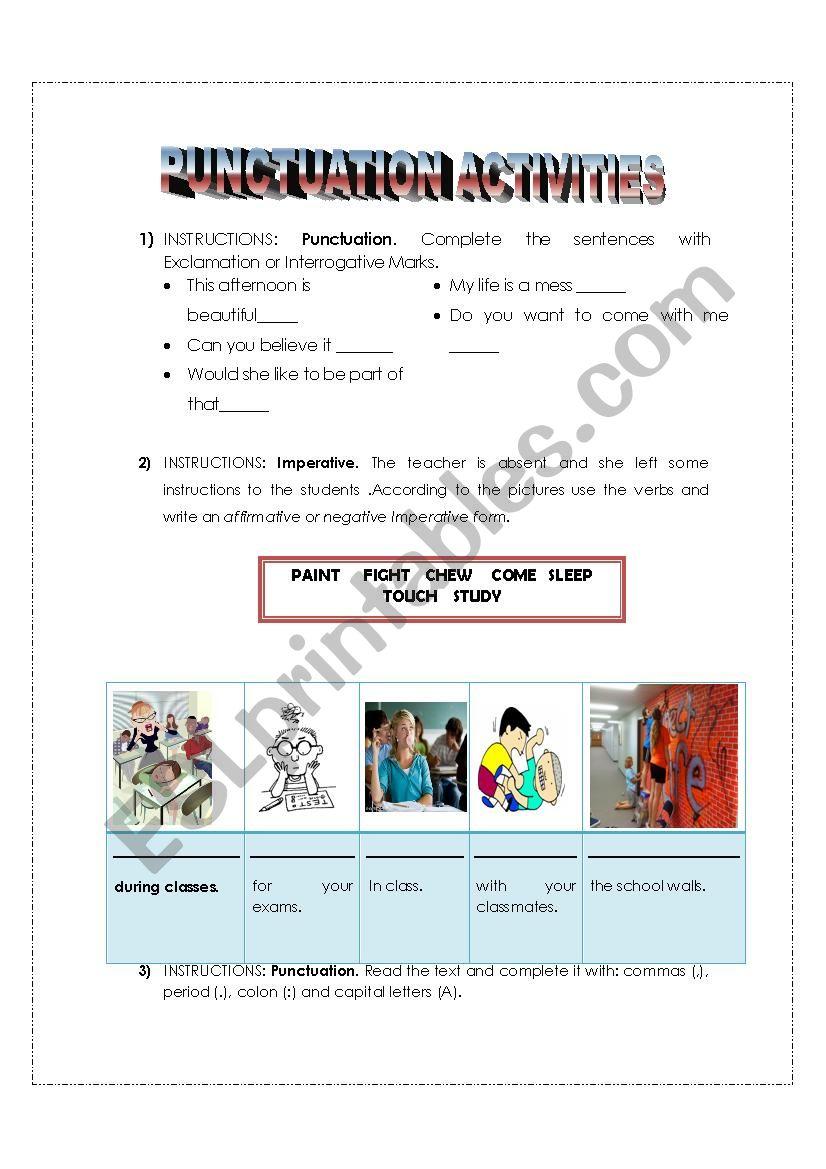 Punctuation activities worksheet