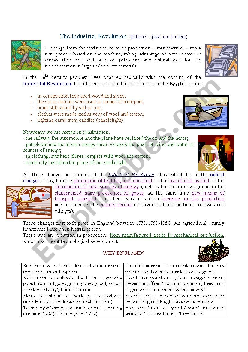 Industrial Revolution Esl Worksheet By Teted