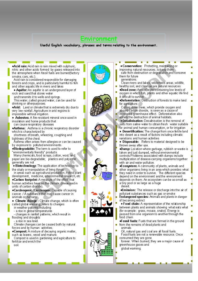 Vocabulary relating to environment