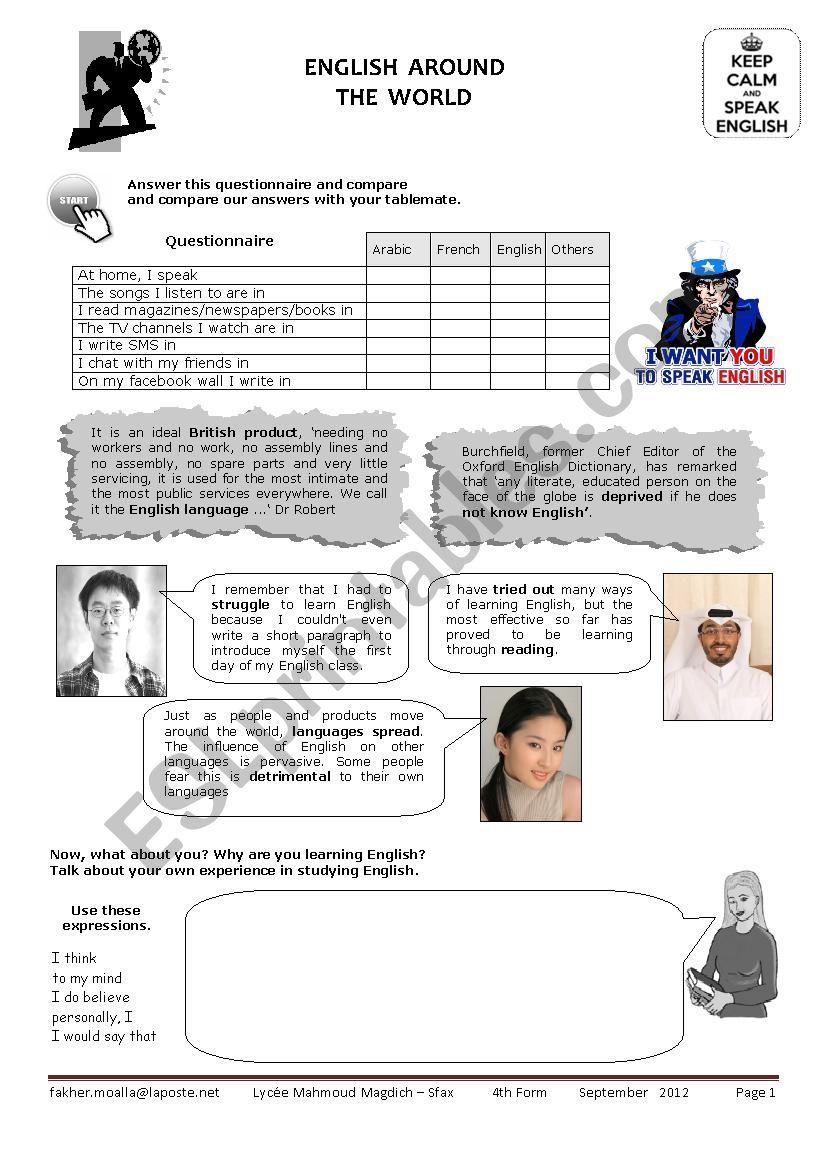 english around the world worksheet