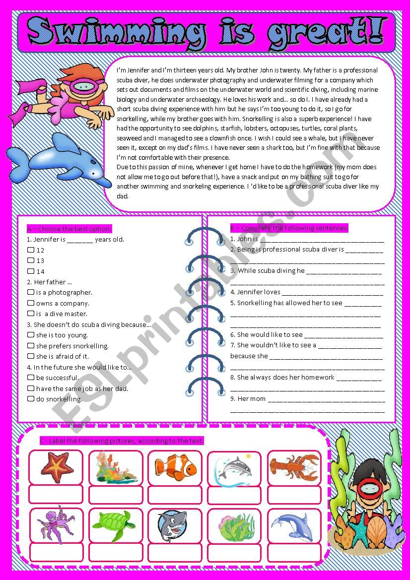 text_Swimming is great! worksheet