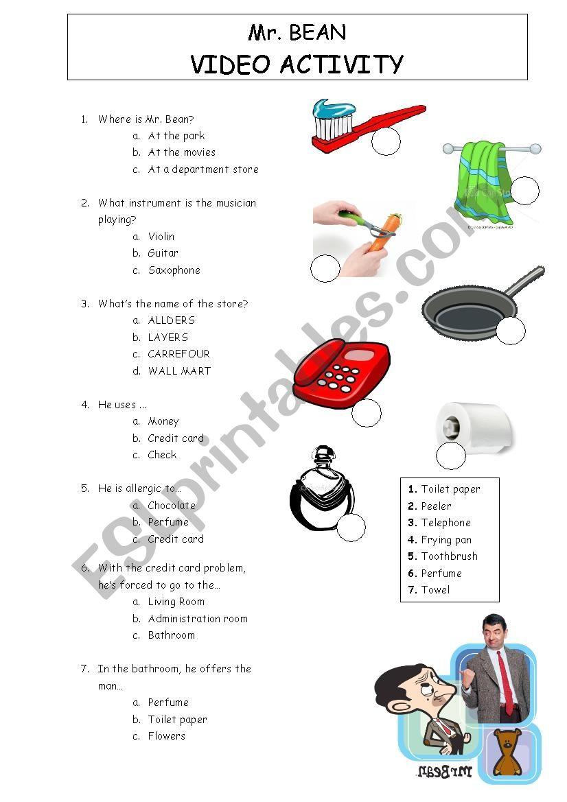Mr Bean goes shopping worksheet