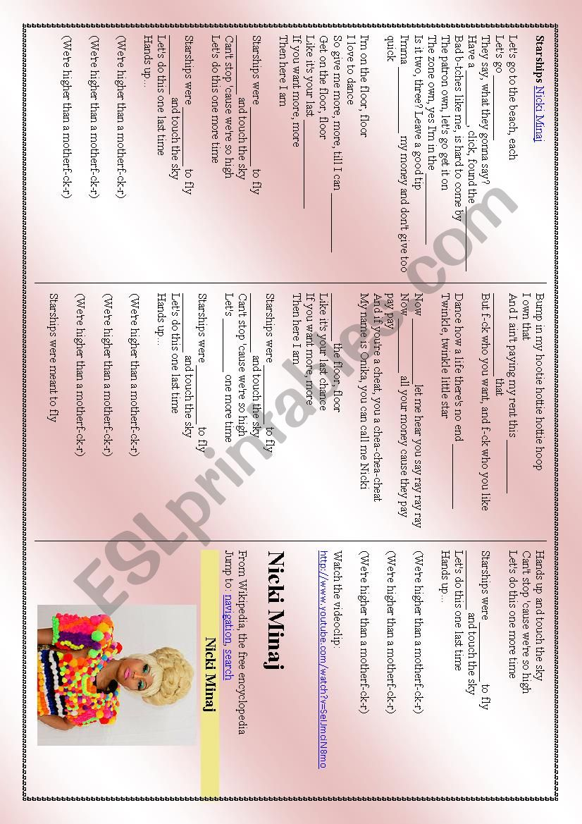 Nicki Minaj - Starships   worksheet