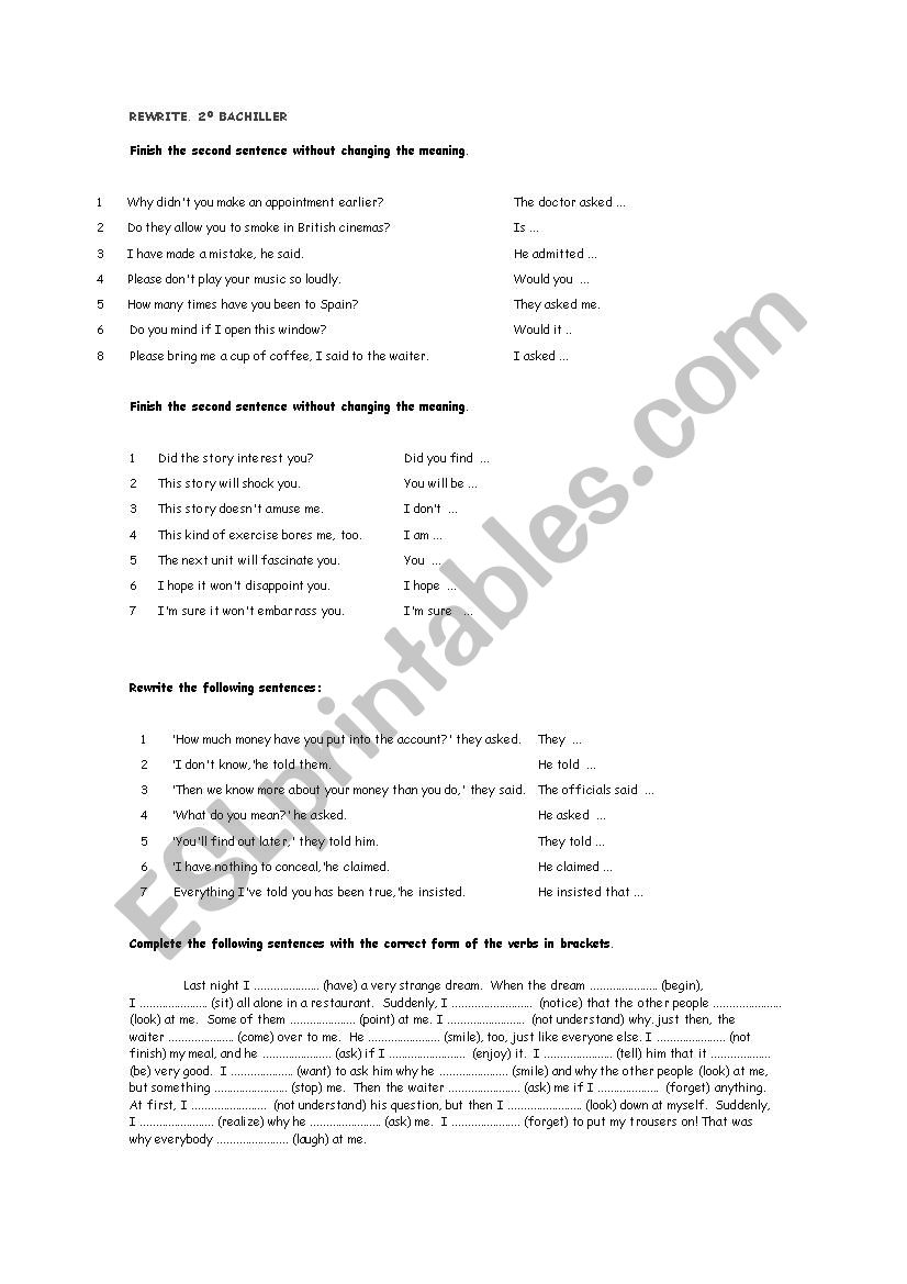 rewrite bachillerato worksheet