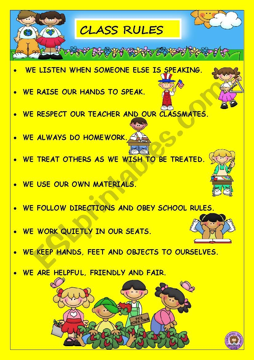 Class rules worksheet