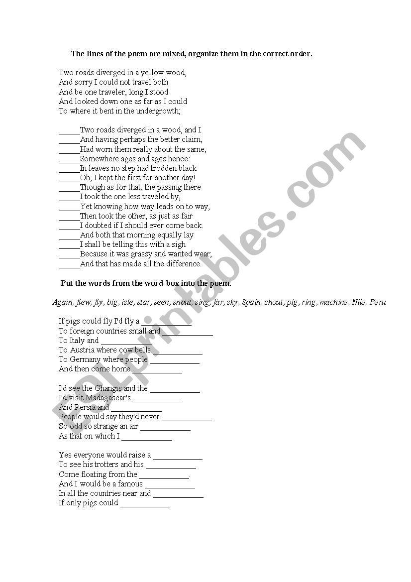 Poetry brainteaser worksheet