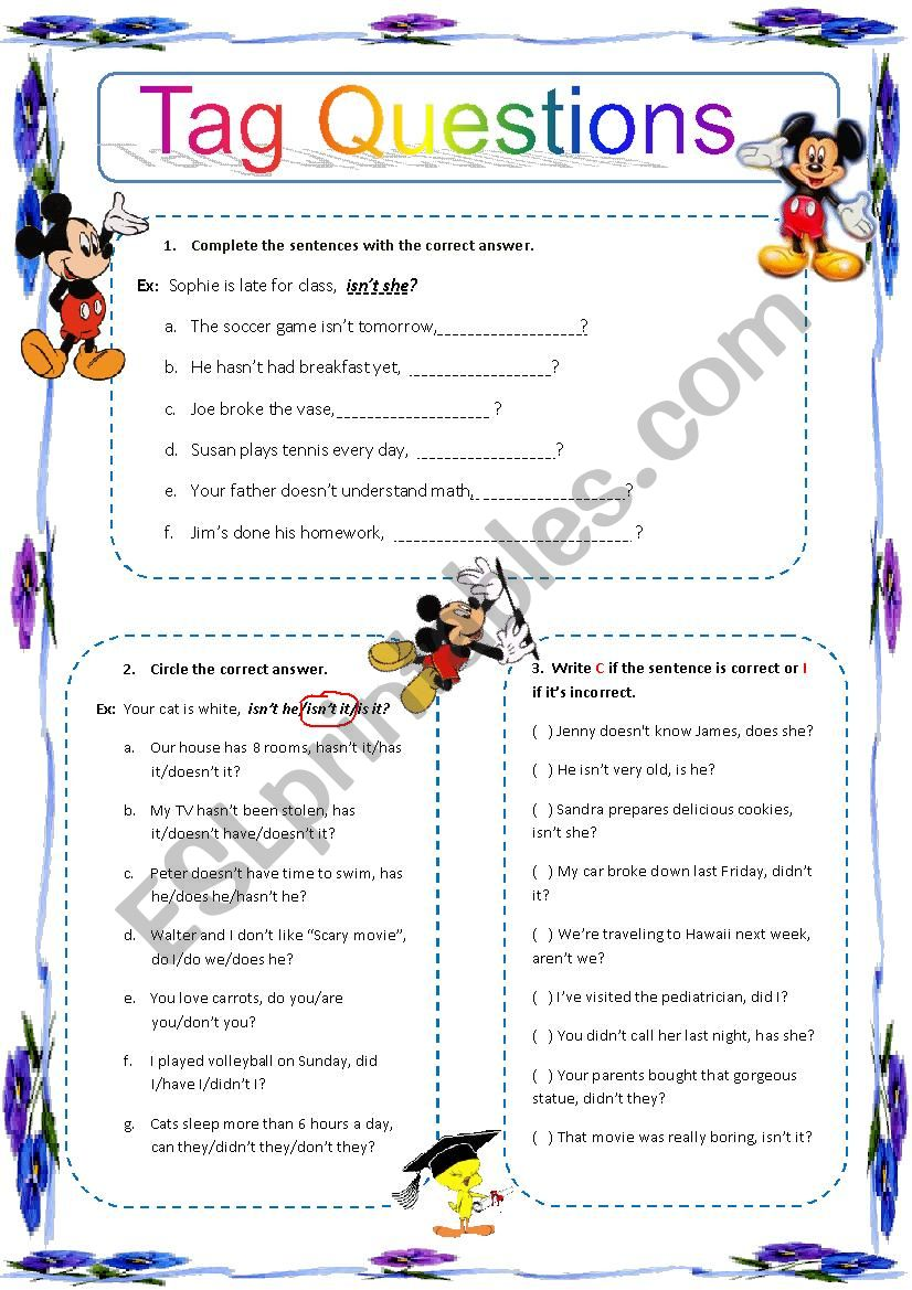 Tag questions exercises worksheet