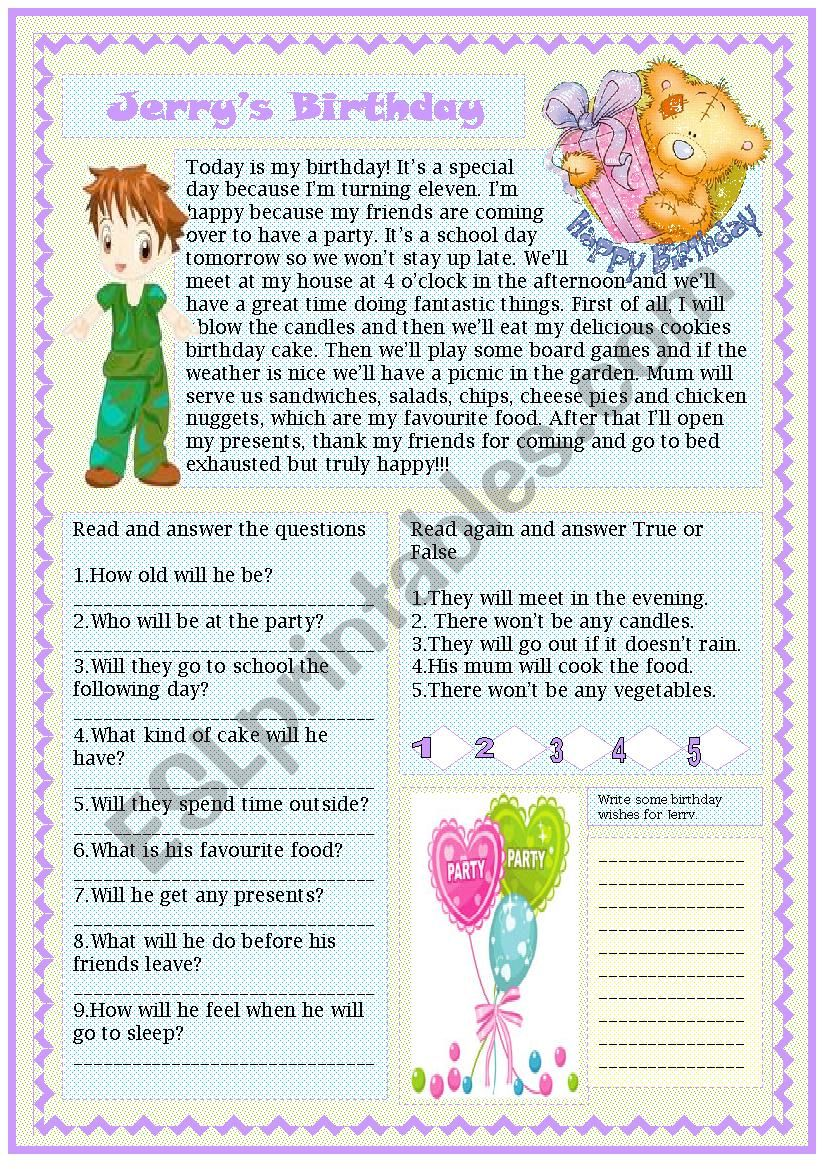 jerry´s birthday worksheet