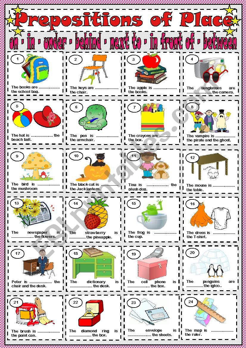 PREPOSITIONS OF PLACE - ON / IN / UNDER / BEHIND / NEXT TO / IN FRONT OF / BETWEEN