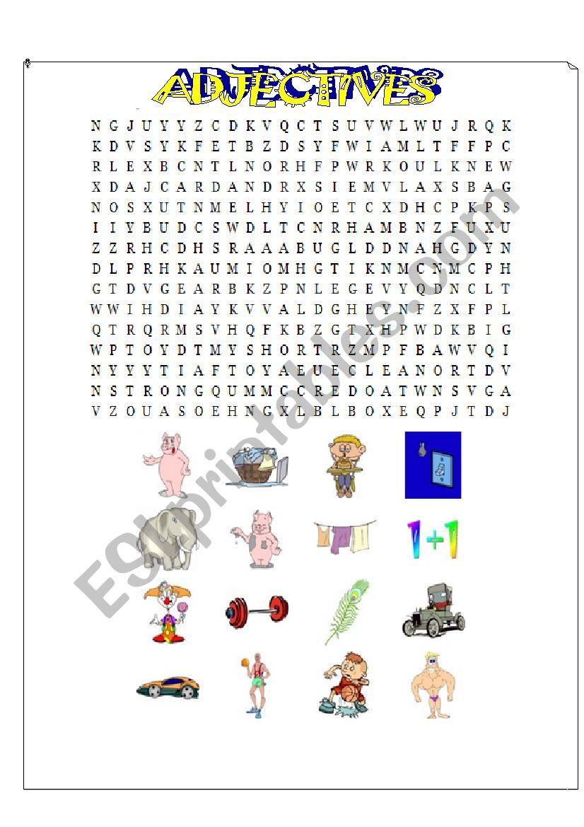 Adjectives wordsearch worksheet