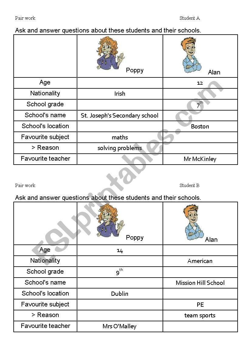 Pair work: at school worksheet