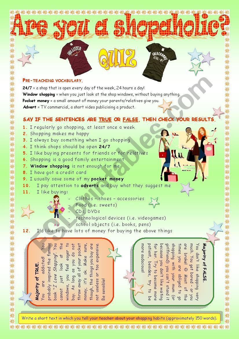 Shopping - a quiz worksheet