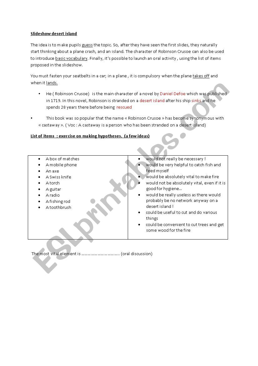 desert island (slideshow) worksheet