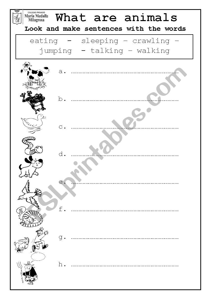 Farm Animals Actions worksheet