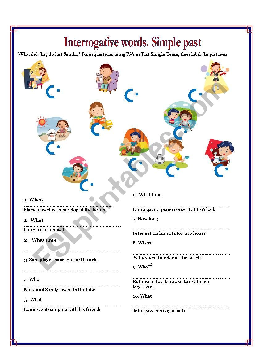 What did they do last sunday? worksheet