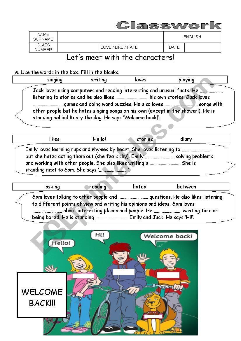 Love, Like, Hate +ing worksheet