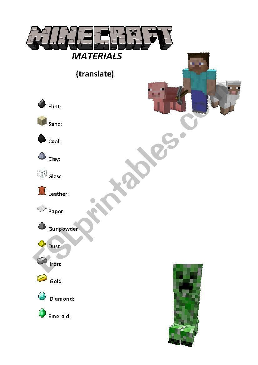 Minecraft Materials Vocabulary