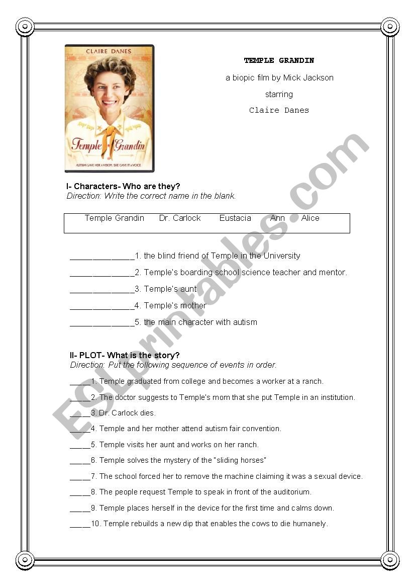 English worksheets: Temple Grandin Post Movie Activity