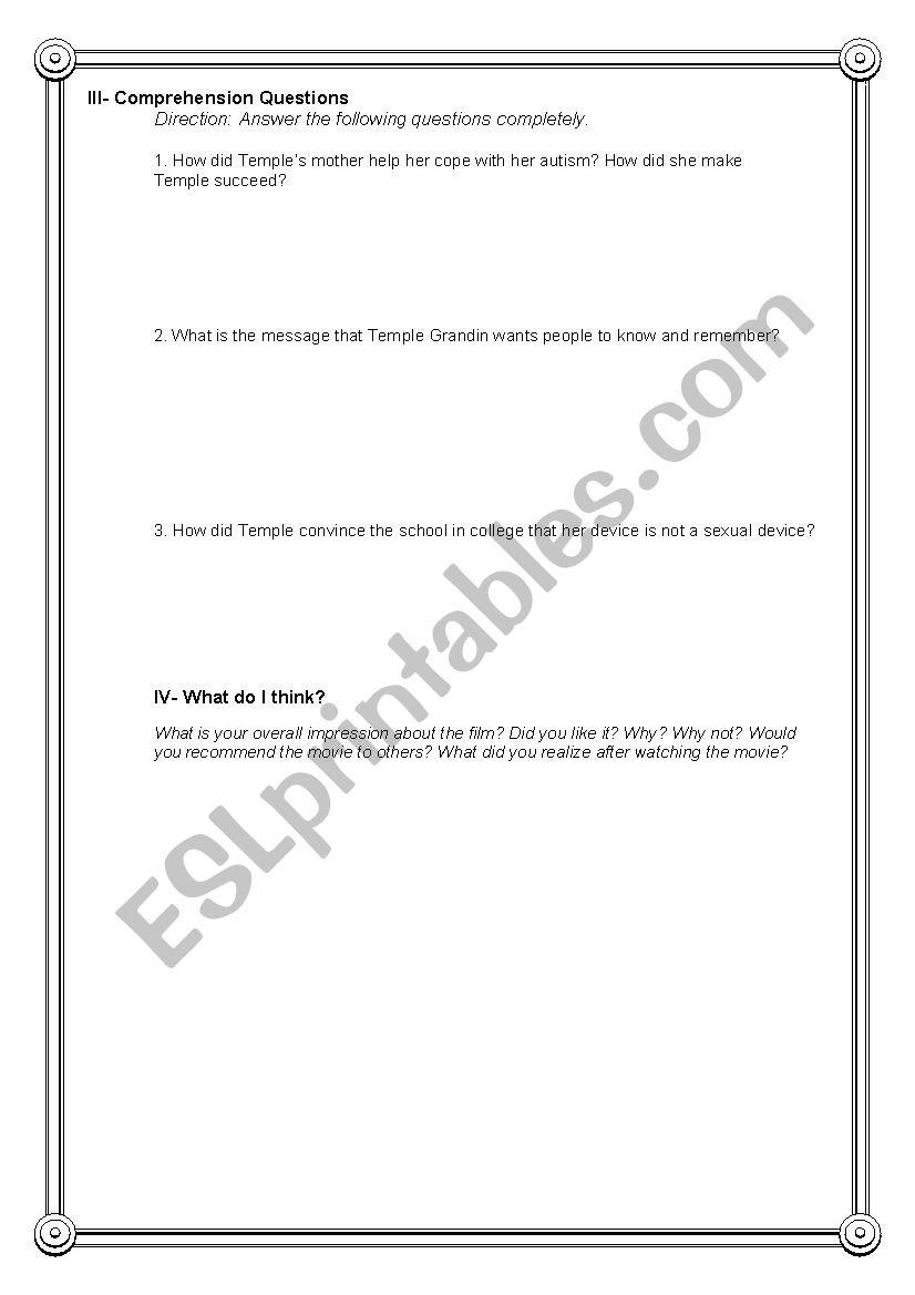 Temple Grandin Movie Worksheet Answers - Livinghealthybulletin