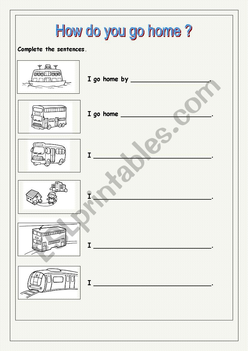 How do you go home? worksheet