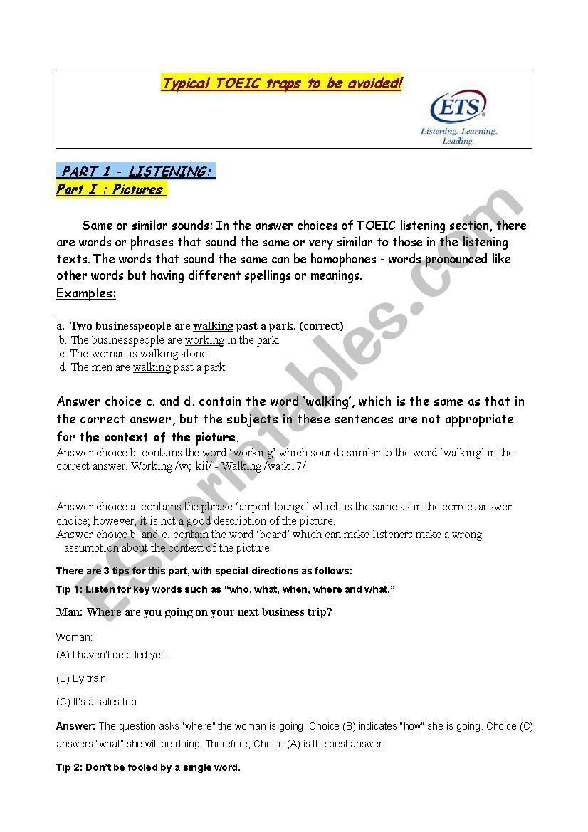 TOEIC traps and tips  worksheet