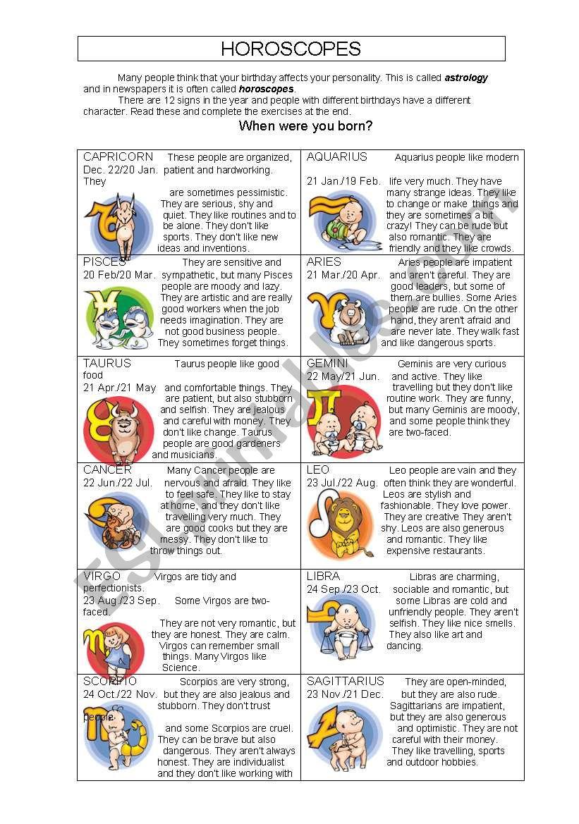 Horoscopes worksheet