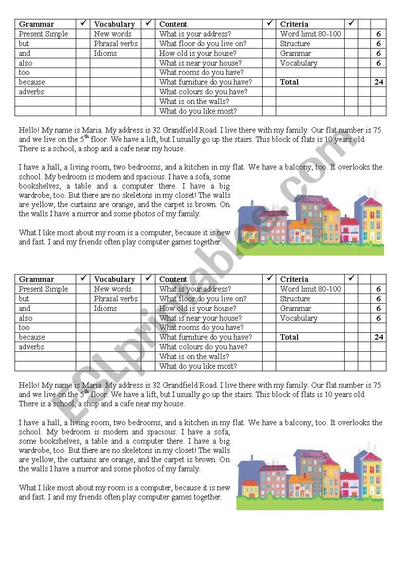 My flat. Sample essay with criteria for assessment
