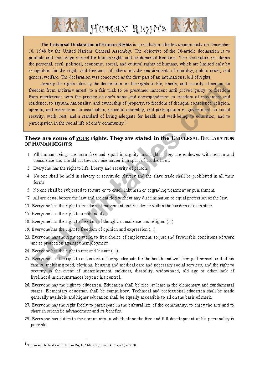 Human Rights worksheet