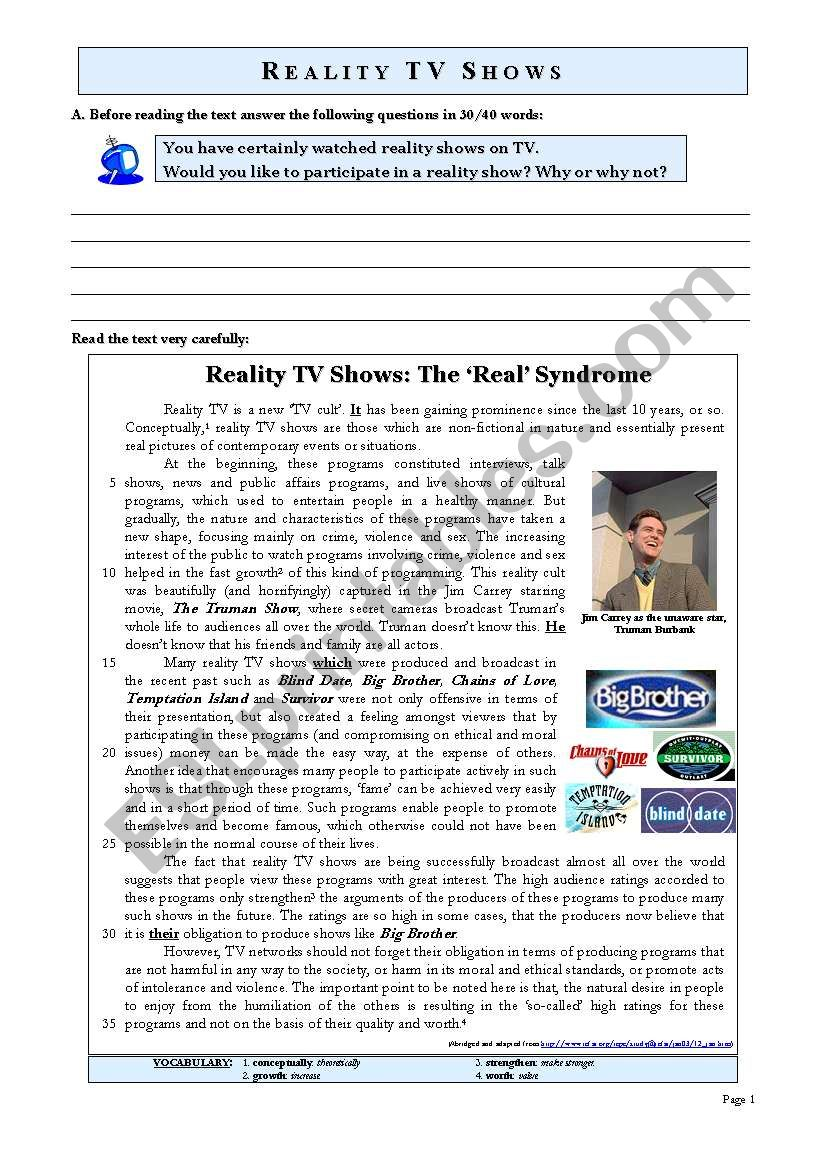 REALITY TV SHOWS worksheet