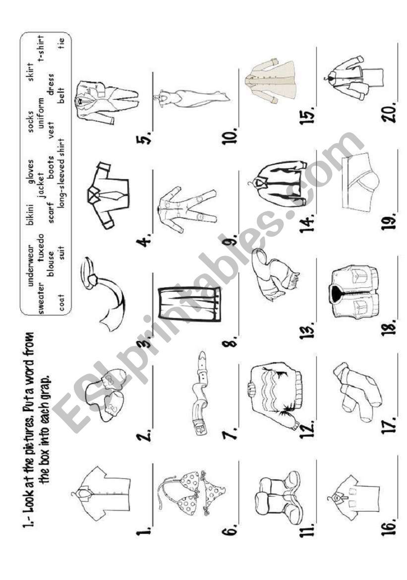 CLOTHES_EXERCISE worksheet
