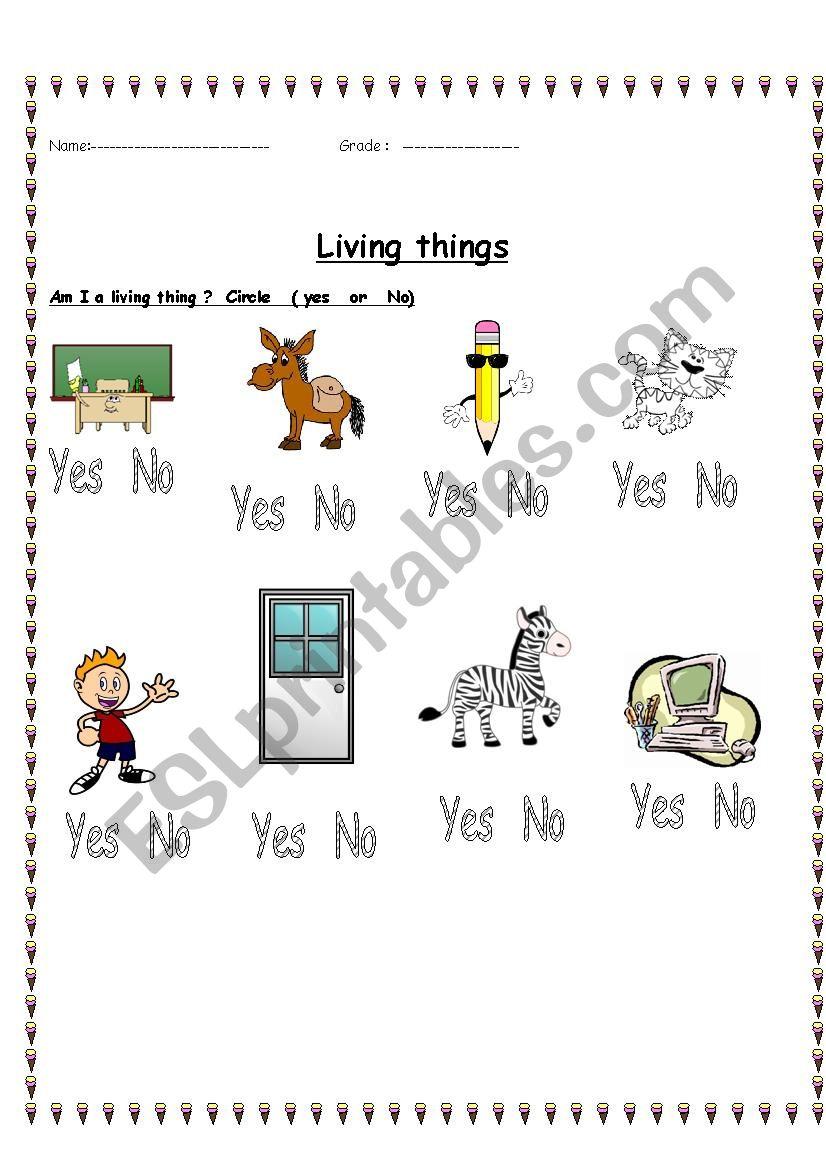 Living things worksheet