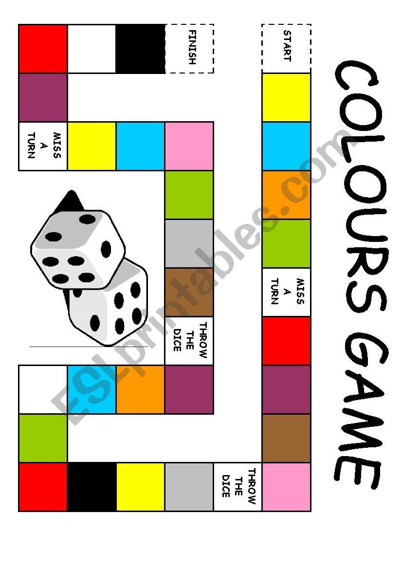 Colours board game - ESL worksheet by edurne_tudela