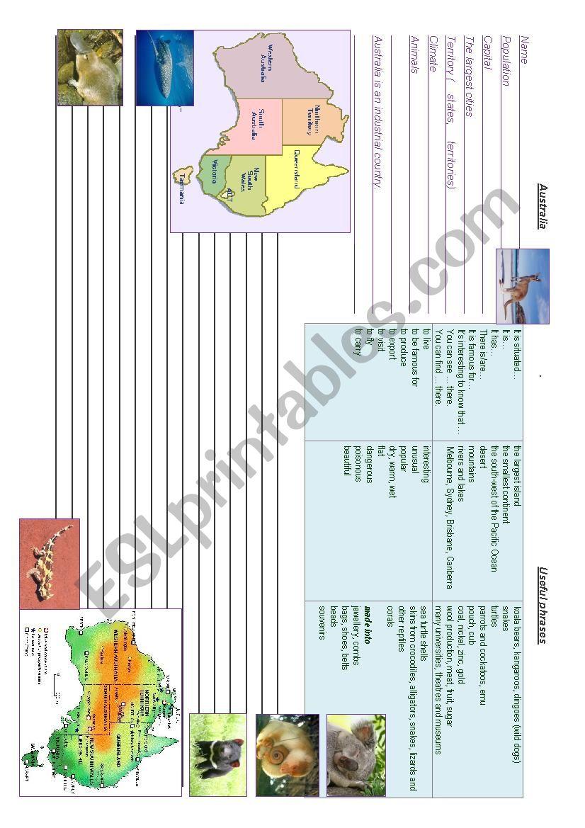 Australia. Writing prompt worksheet