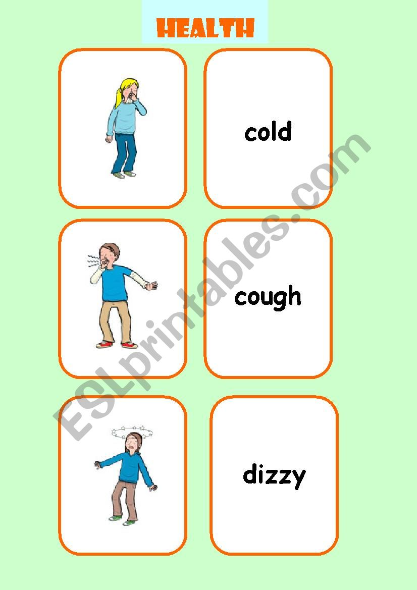 HEALTH flashcards  worksheet