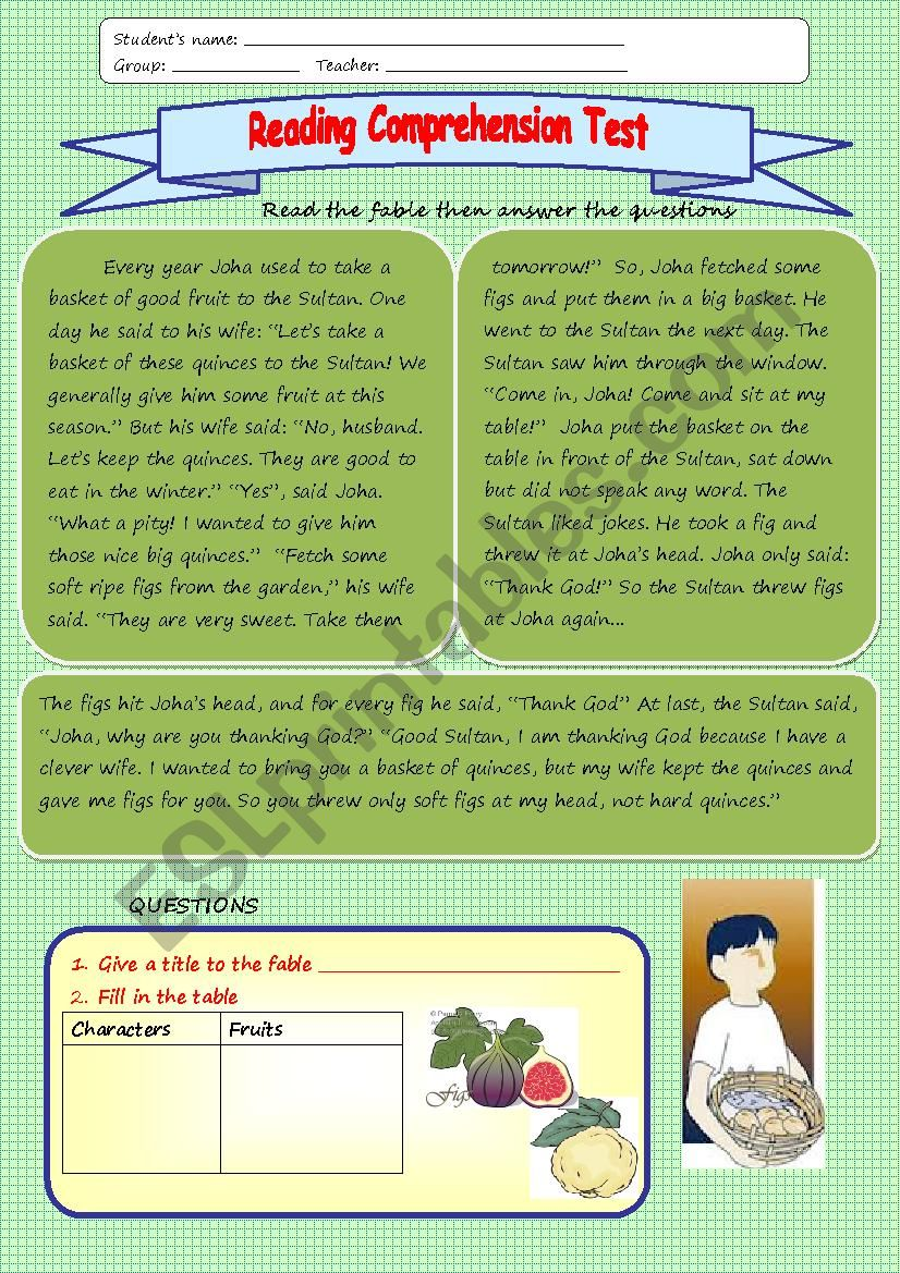 Reading comprehension 2 worksheet