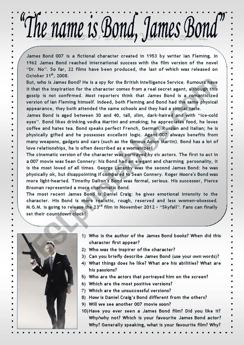 The greatest British spy! worksheet