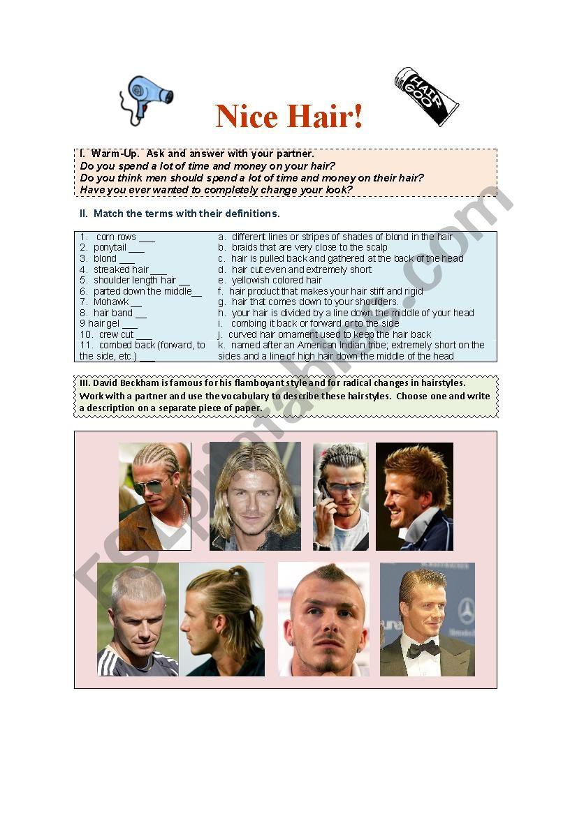 Nice Hair worksheet