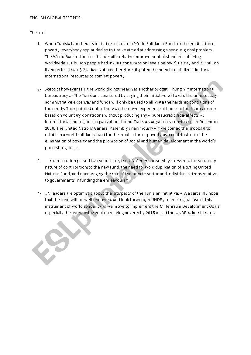 ENGLISH GLOBAL TEST N°1 worksheet