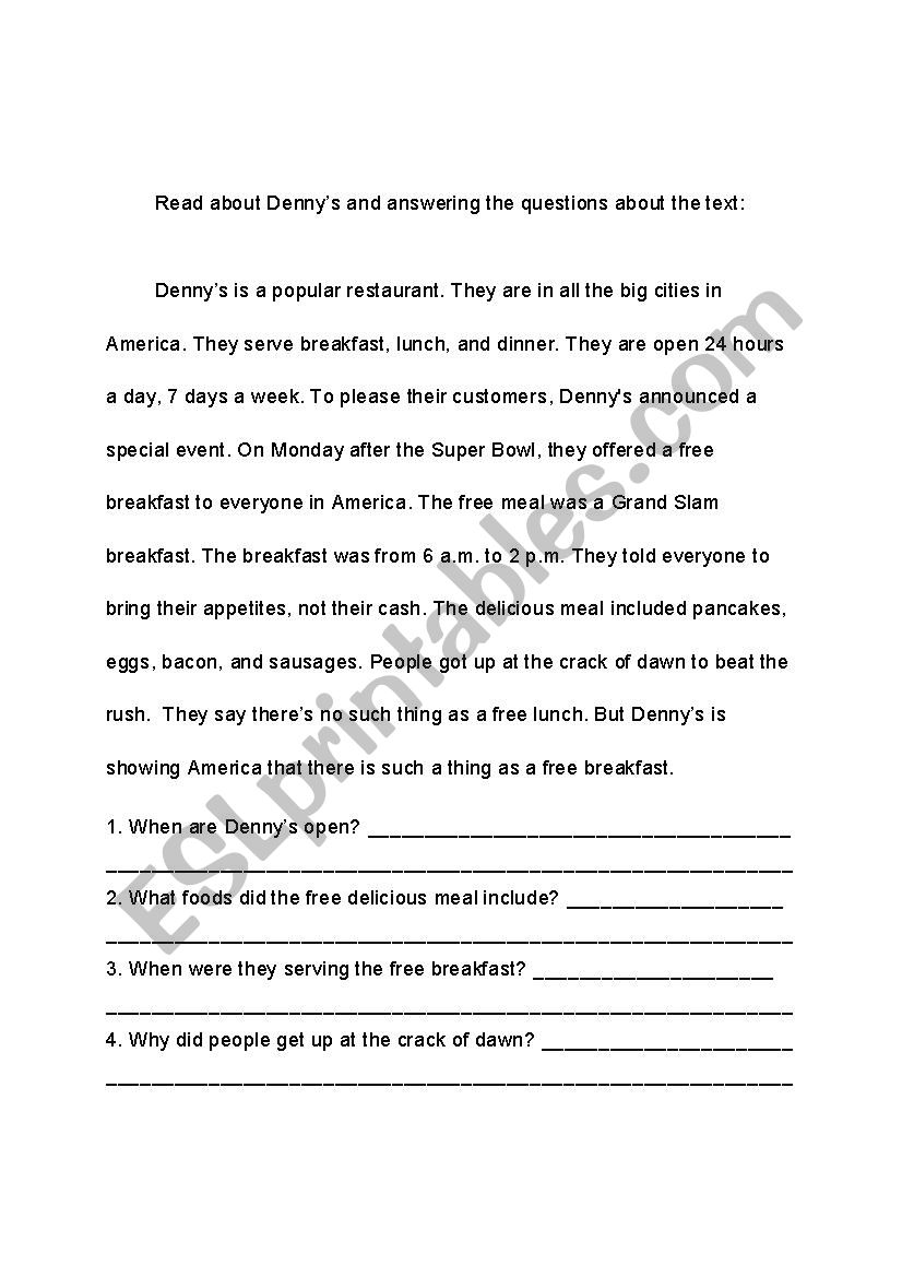 - Denny´s: Short Reading And Comprehension Questions - ESL Worksheet