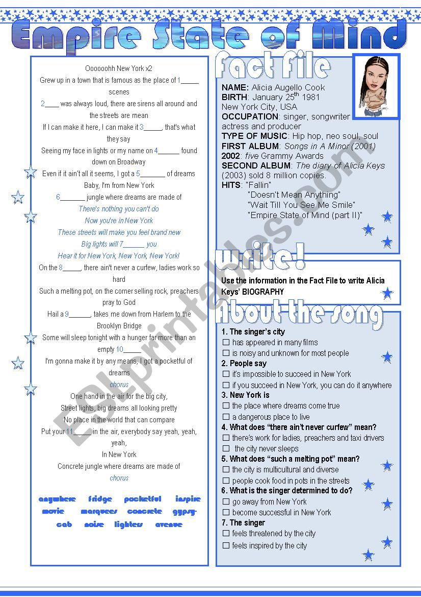Empire State of Mind worksheet