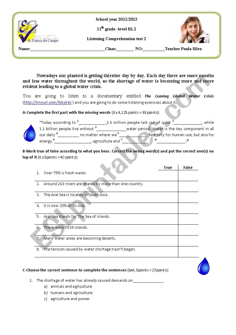 Listening test on water crisis
