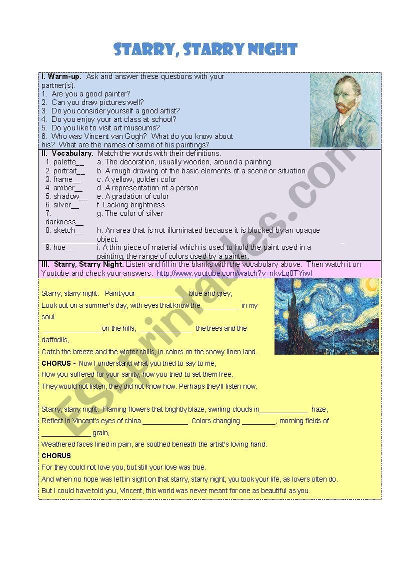 Starry, Starry Night worksheet
