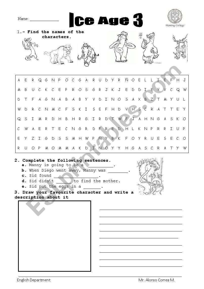 Movie Ice Age - ESL worksheet by ALonSo888