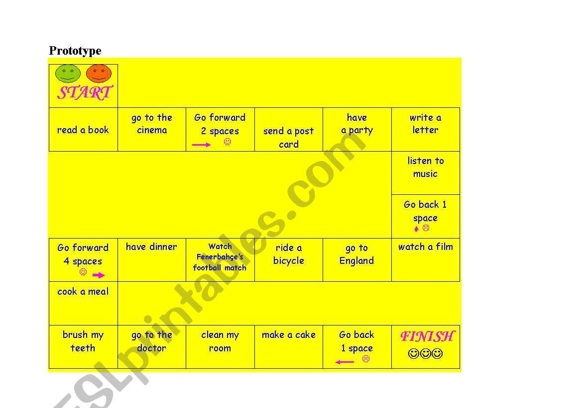 dice game (present simple) worksheet