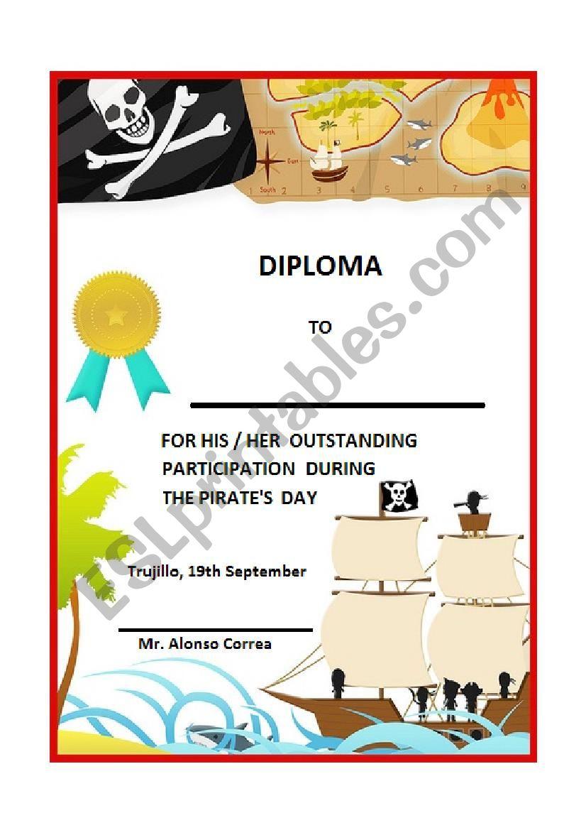 Pirate Pirates day diploma worksheet
